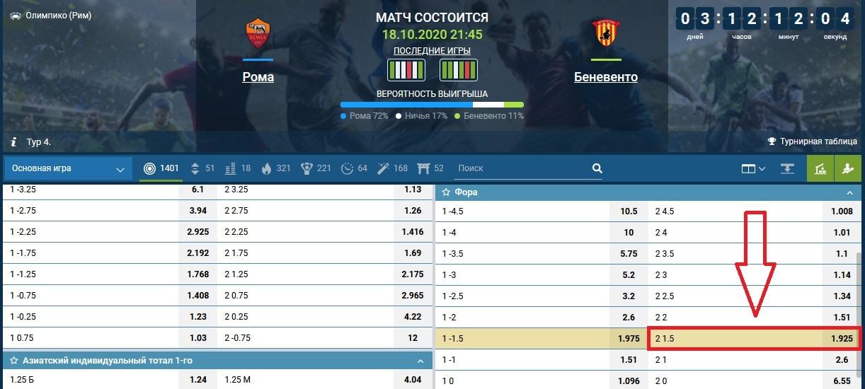 ставка на матч Рома - Беневенто