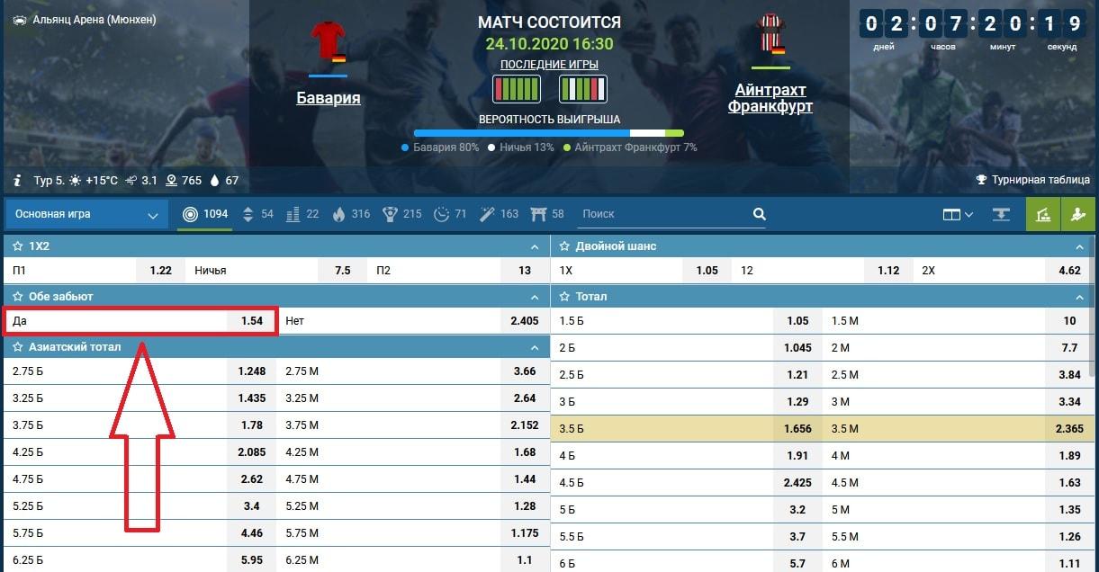 ставка на матч Бавария - Айнтрахт