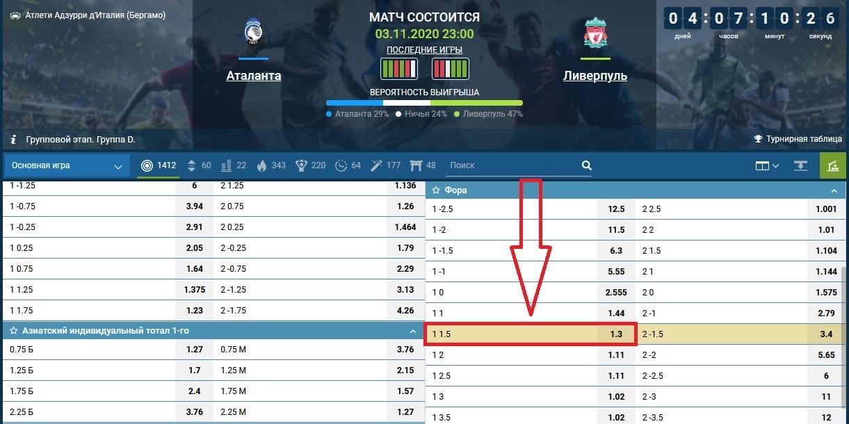 ставка на матч Аталанта - Ливерпуль